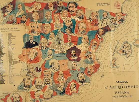 Mapa del caciquismo español publicado por el periódico satírico Gedeón S.XIX