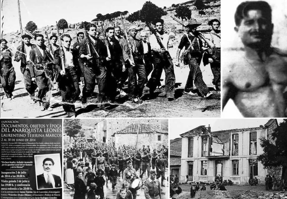 Imágenes de la España de la Guerra Civil, arriba una foto de Laurentino Tejerina y debajo cartel de la exposición que se abre hoy en San Marcelo. - dl