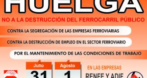 CGT Convoca huelga en RENFE y ADIF los días 31 de julio y 1 de agosto