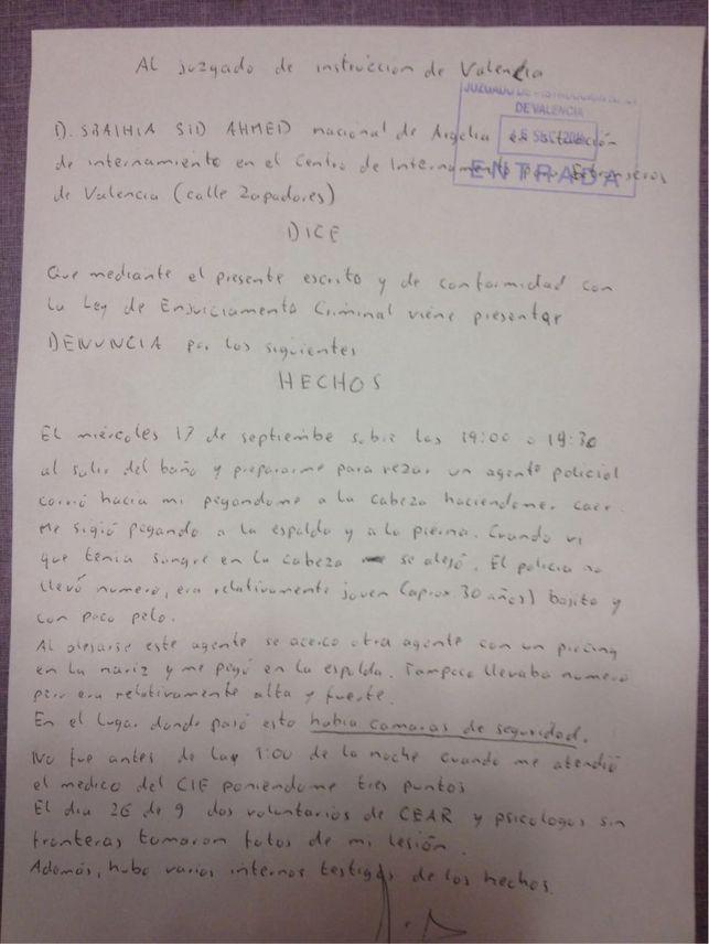 La denuncia presentada por uno de los inmigrantes agredidos