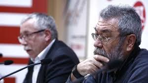 Los secretarios generales de CC.OO y UGT, Toxo y Méndez, en una rueda de prensa