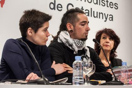 Villullas, Lanza i Mariana Huidobro durant la roda de premsa Enric Català