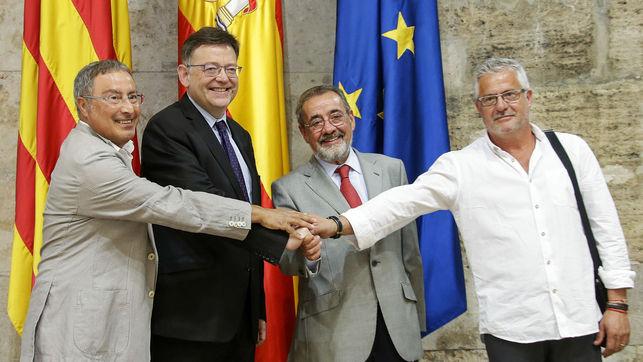 Paco Molina (CCOO-PV), Ximo Puig (PSPV), José Vicente González (Cierval) y Gonzalo Pino (UGT-PV)
