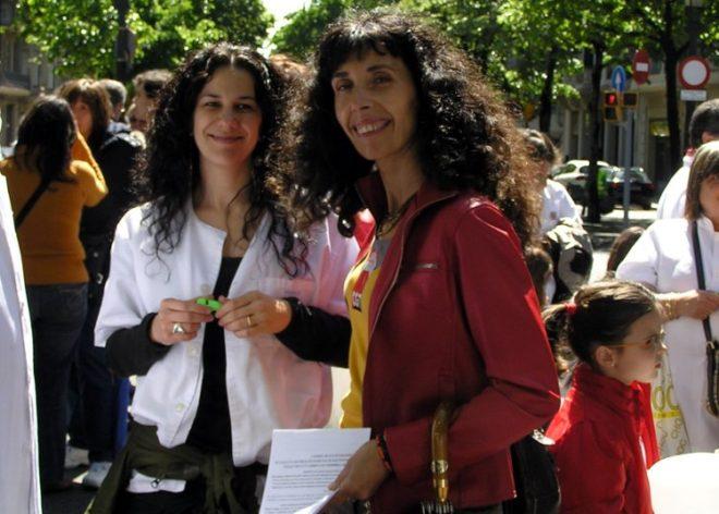 """L'activista, a la dreta de la imatge, assegura que va actuar """"per convicció política i solidaritat"""" CGT"""